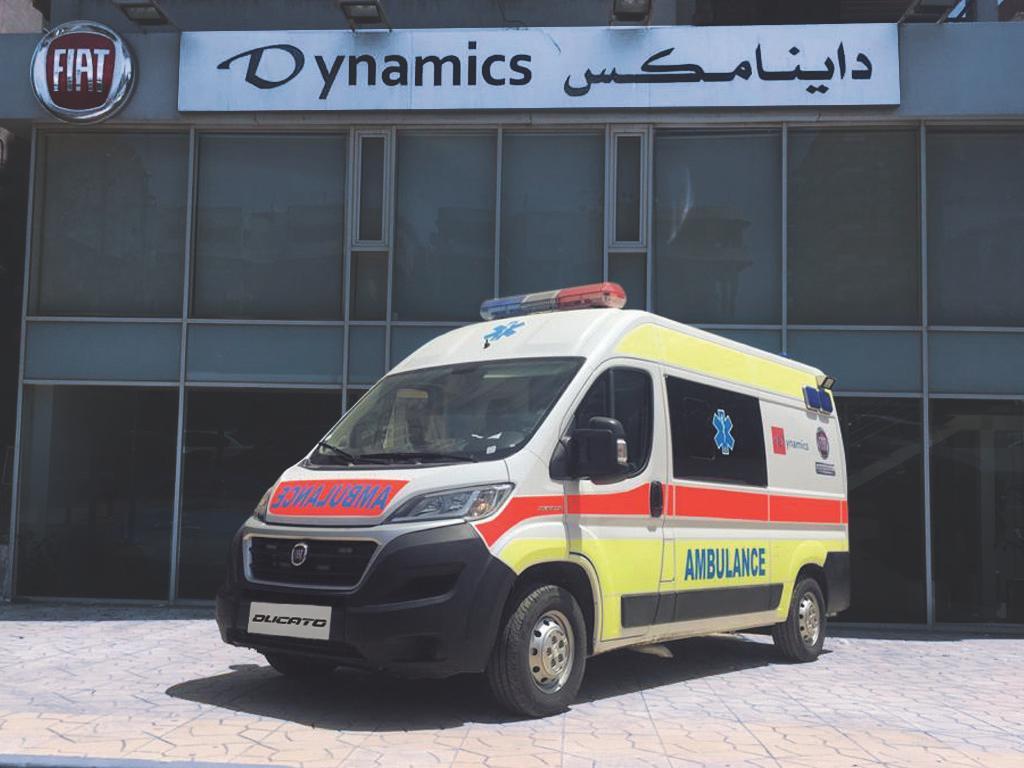 """لمواجهة فيروس كورونا (كوفيد – ١٩) """"داينامكس"""" تهدي سيارة إسعاف مجهزة لدعم جهود القطاع الطبي"""